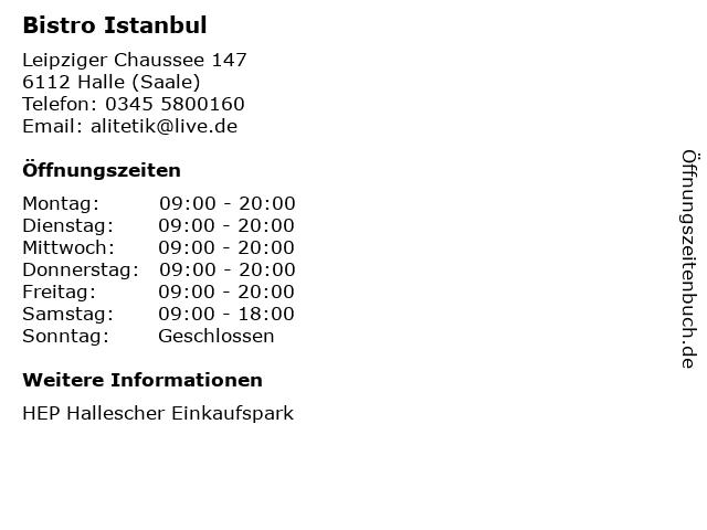 Bistro Istanbul in Halle (Saale): Adresse und Öffnungszeiten