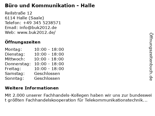 Büro und Kommunikation - Halle in Halle (Saale): Adresse und Öffnungszeiten