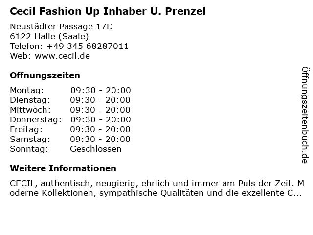 Cecil Fashion Up Inhaber U. Prenzel in Halle (Saale): Adresse und Öffnungszeiten
