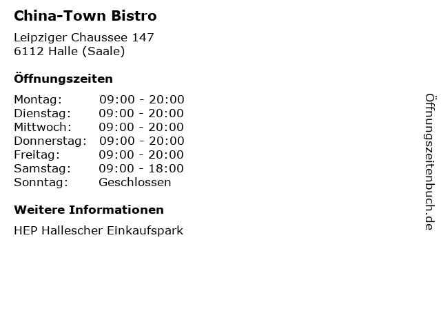 China-Town Bistro in Halle (Saale): Adresse und Öffnungszeiten