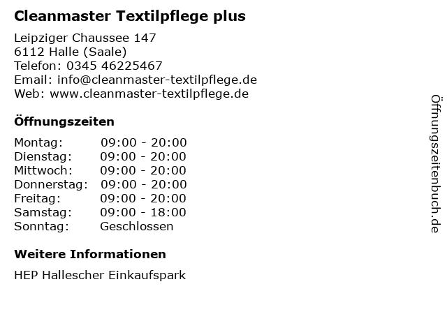 Cleanmaster Textilpflege plus in Halle (Saale): Adresse und Öffnungszeiten