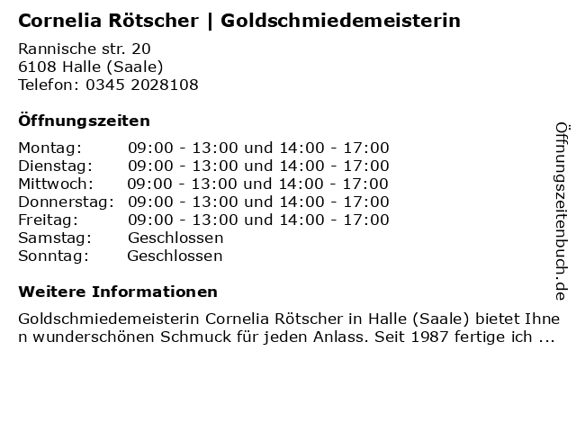 Cornelia Rötscher | Goldschmiedemeisterin in Halle (Saale): Adresse und Öffnungszeiten