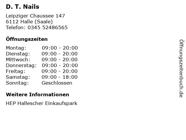D. T. Nails in Halle (Saale): Adresse und Öffnungszeiten