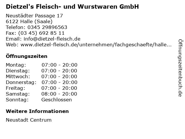 Dietzel's Fleisch- und Wurstwaren GmbH in Halle (Saale): Adresse und Öffnungszeiten