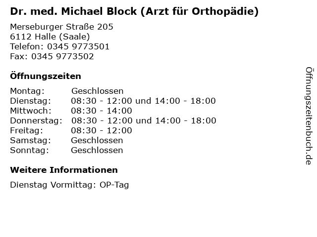 """ᐅ Öffnungszeiten """"Dr  med  Michael Block (Arzt für Orthopädie"""
