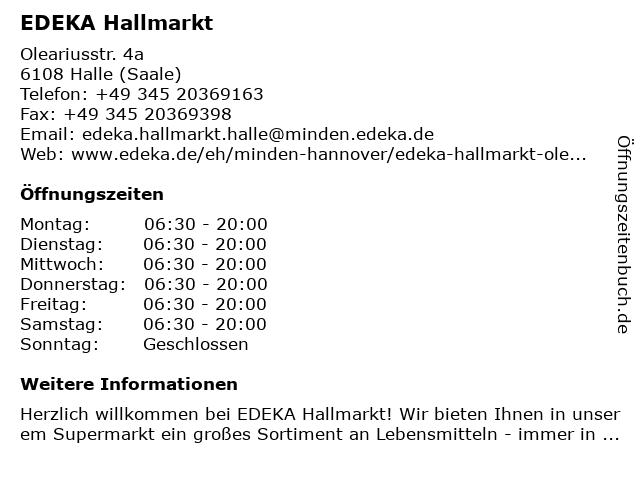 EDEKA Hallmarkt in Halle (Saale): Adresse und Öffnungszeiten