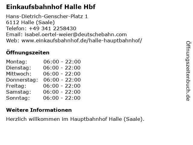 Einkaufsbahnhof Halle Hbf in Halle (Saale): Adresse und Öffnungszeiten