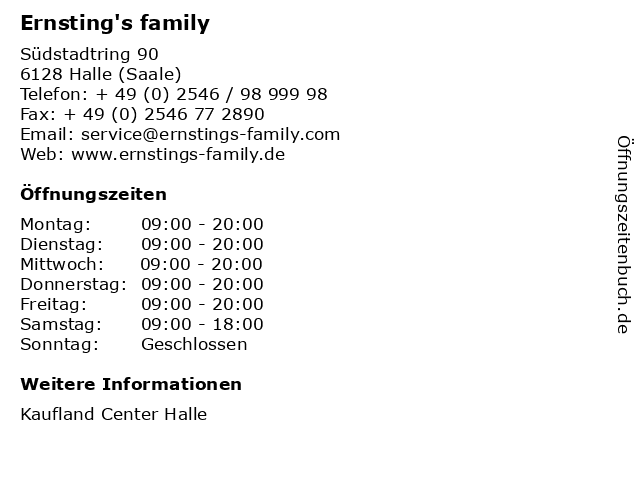 Ernsting's family GmbH & Co. KG in Halle (Saale): Adresse und Öffnungszeiten