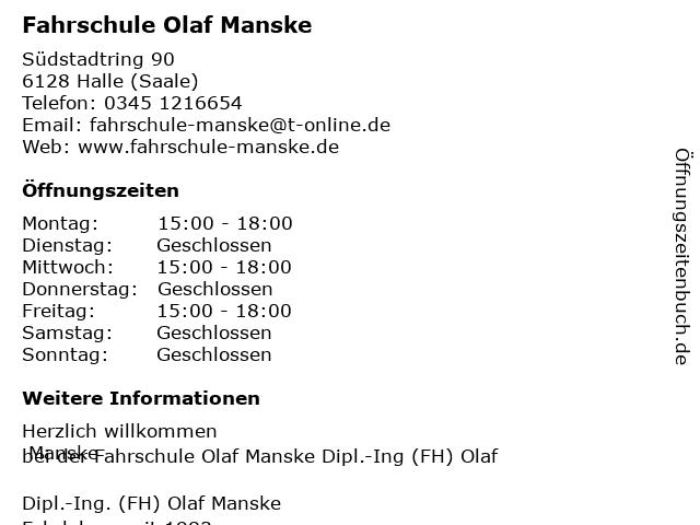Fahrschule Olaf Manske in Halle (Saale): Adresse und Öffnungszeiten