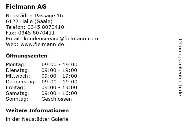 Fielmann AG in Halle (Saale): Adresse und Öffnungszeiten