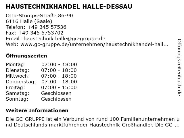 HAUSTECHNIKHANDEL HALLE-DESSAU in Halle (Saale): Adresse und Öffnungszeiten