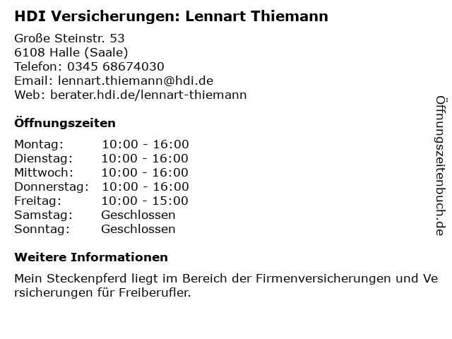 HDI Versicherungen: Lennart Thiemann in Halle (Saale): Adresse und Öffnungszeiten