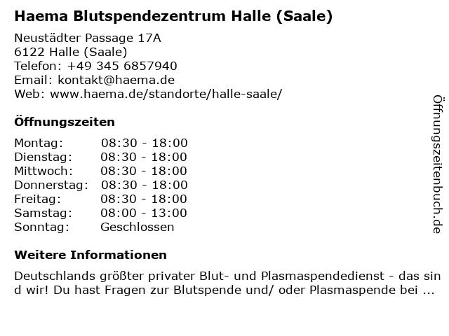 Haema Blutspendezentrum Halle/Saale in Halle (Saale): Adresse und Öffnungszeiten