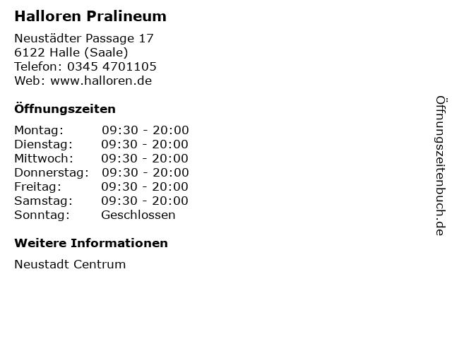 Halloren Pralineum in Halle (Saale): Adresse und Öffnungszeiten