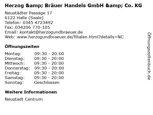 Herzog & Bräuer Handels GmbH & Co. KG in Halle (Saale): Adresse und Öffnungszeiten