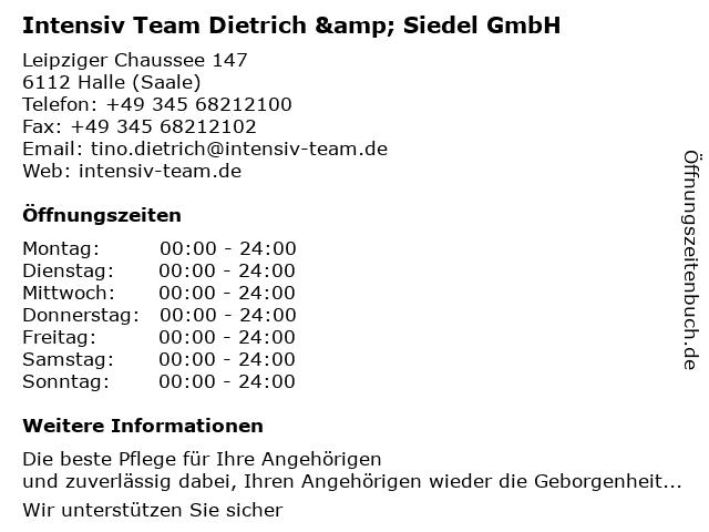 Intensiv Team Dietrich & Siedel GmbH in Halle (Saale): Adresse und Öffnungszeiten