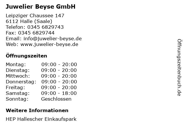Juwelier Beyse GmbH in Halle (Saale): Adresse und Öffnungszeiten