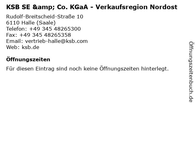 KSB SE & Co. KGaA; Verkaufsregion Ost in Halle: Adresse und Öffnungszeiten
