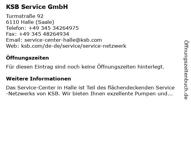 KSB Service GmbH in Halle (Saale): Adresse und Öffnungszeiten