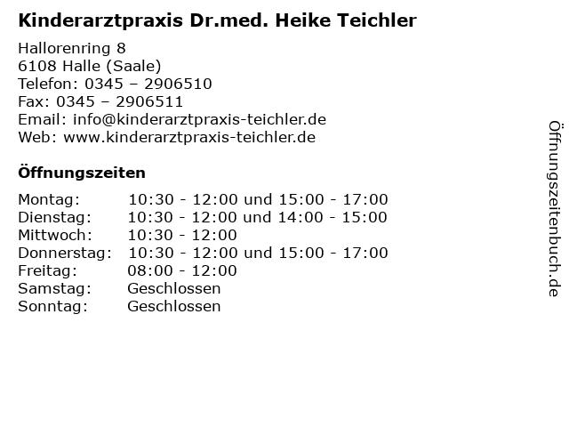 Kinderarztpraxis Dr.med. Heike Teichler in Halle (Saale): Adresse und Öffnungszeiten