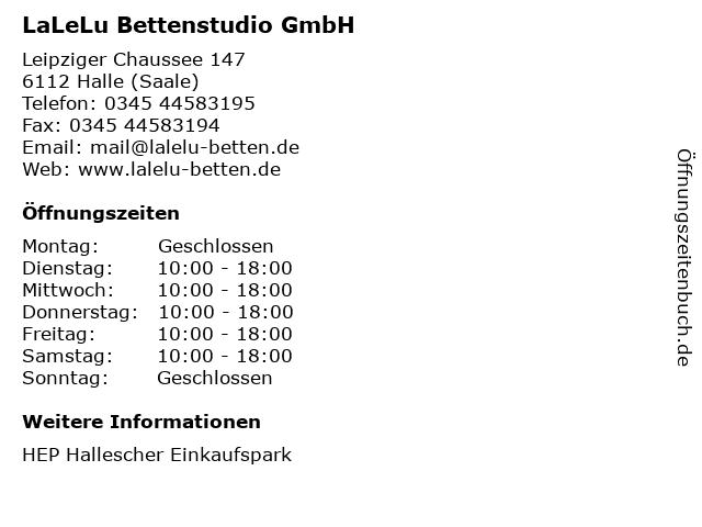LaLeLu Bettenstudio GmbH in Halle (Saale): Adresse und Öffnungszeiten