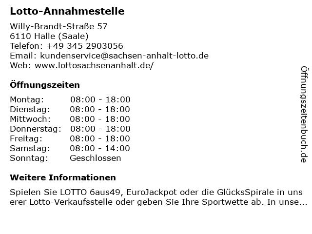 ᐅ öffnungszeiten Lotto Annahmestelle Willy Brandt Straße 57 In