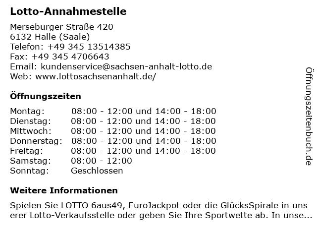 Lotto-Annahmestelle in Halle (Saale): Adresse und Öffnungszeiten