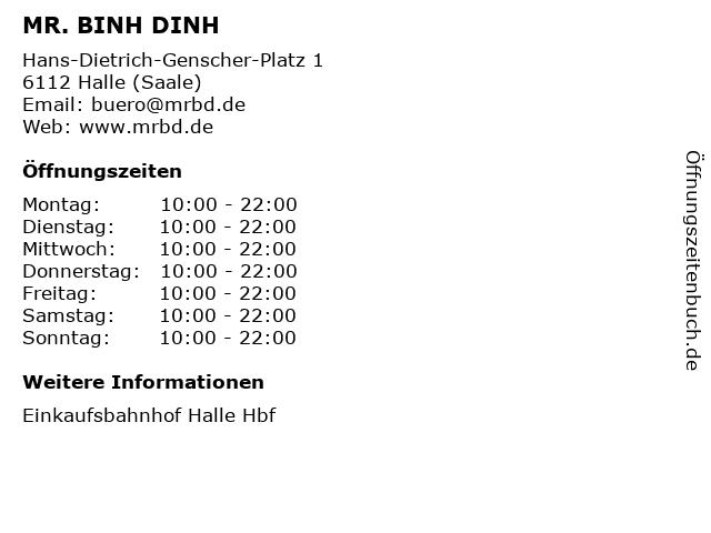 MR. BINH DINH in Halle (Saale): Adresse und Öffnungszeiten