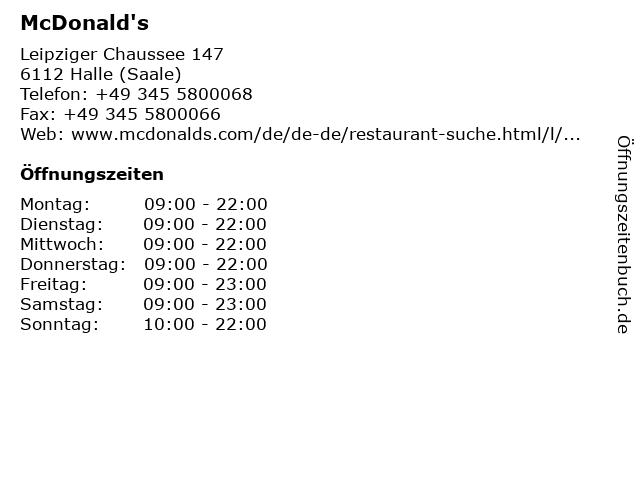 McDonald's in Halle (Saale): Adresse und Öffnungszeiten