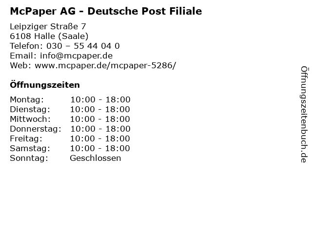McPaper AG - Deutsche Post Filiale in Halle (Saale): Adresse und Öffnungszeiten