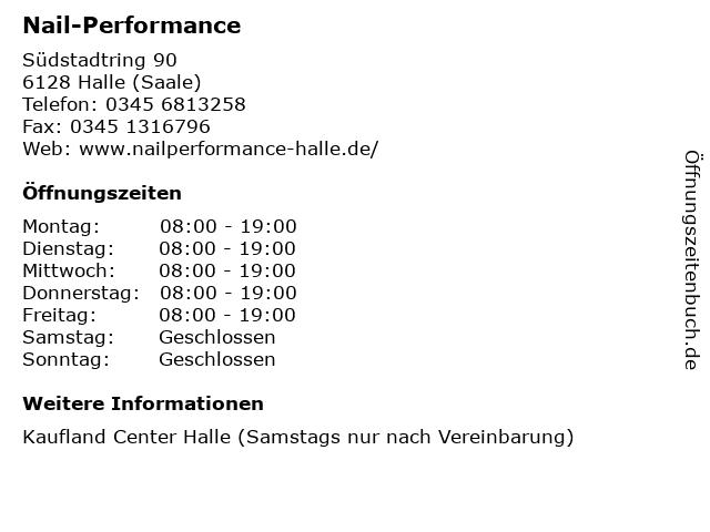 Nail-Performance in Halle (Saale): Adresse und Öffnungszeiten