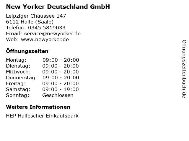 New Yorker Deutschland GmbH in Halle (Saale): Adresse und Öffnungszeiten