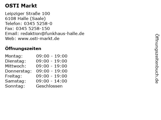 ᐅ öffnungszeiten Osti Markt Leipziger Straße 100 In Halle Saale