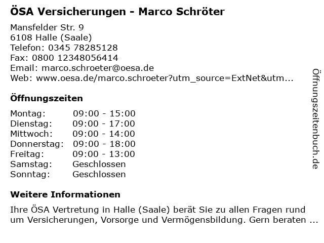 ÖSA Versicherungen - Marco Schröter in Halle (Saale): Adresse und Öffnungszeiten