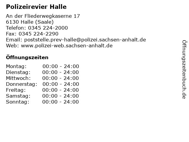 ᐅ öffnungszeiten Polizeirevier Halle An Der Fliederwegkaserne