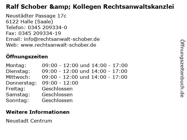 Ralf Schober & Kollegen Rechtsanwaltskanzlei in Halle (Saale): Adresse und Öffnungszeiten