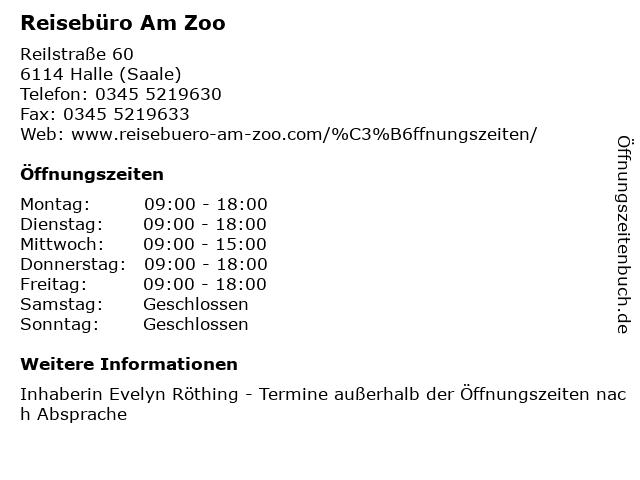 Reisebüro Am Zoo in Halle (Saale): Adresse und Öffnungszeiten