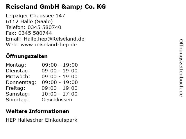 Reiseland GmbH & Co. KG in Halle (Saale): Adresse und Öffnungszeiten