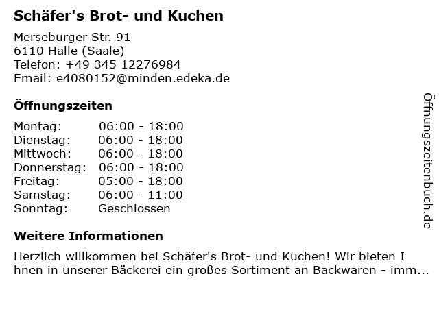 Schäfer's Brot- und Kuchen in Halle (Saale): Adresse und Öffnungszeiten