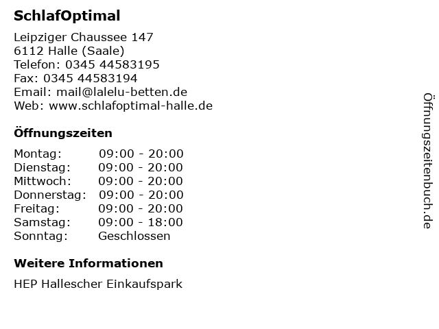 SchlafOptimal in Halle (Saale): Adresse und Öffnungszeiten