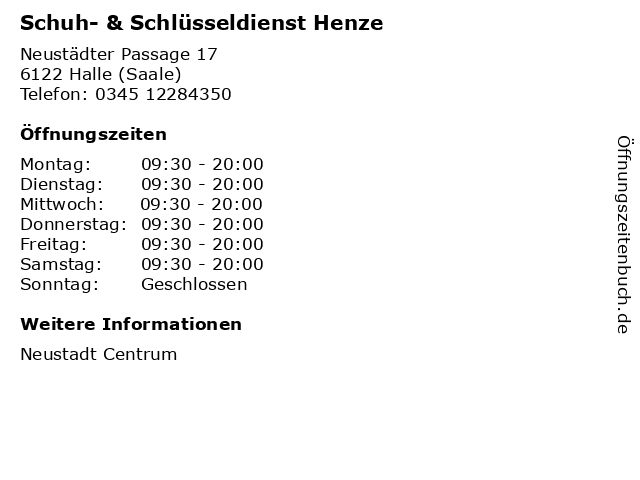 Schuh- & Schlüsseldienst Henze in Halle (Saale): Adresse und Öffnungszeiten