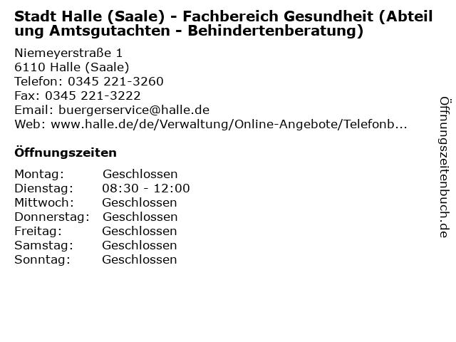 Stadt Halle (Saale) - Fachbereich Gesundheit (Abteilung Amtsgutachten - Behindertenberatung) in Halle (Saale): Adresse und Öffnungszeiten
