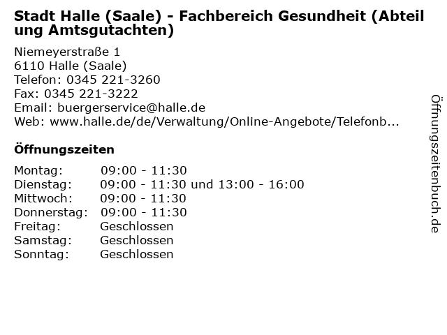 Stadt Halle (Saale) - Fachbereich Gesundheit (Abteilung Amtsgutachten) in Halle (Saale): Adresse und Öffnungszeiten