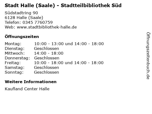 Stadt Halle (Saale) - Stadtteilbibliothek Süd in Halle (Saale): Adresse und Öffnungszeiten