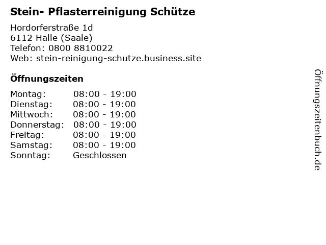 Stein- Pflasterreinigung Schütze in Halle (Saale): Adresse und Öffnungszeiten