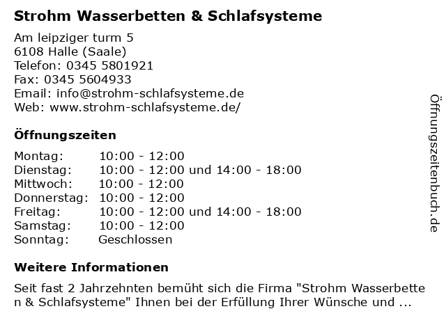 Strohm Wasserbetten & Schlafsysteme in Halle: Adresse und Öffnungszeiten