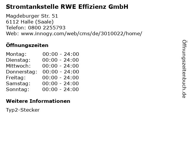 Stromtankstelle RWE Effizienz GmbH in Halle (Saale): Adresse und Öffnungszeiten