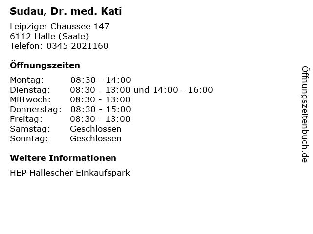 Sudau, Dr. med. Kati in Halle (Saale): Adresse und Öffnungszeiten