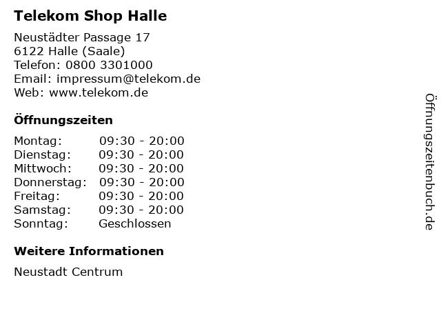 Telekom Shop Halle in Halle (Saale): Adresse und Öffnungszeiten
