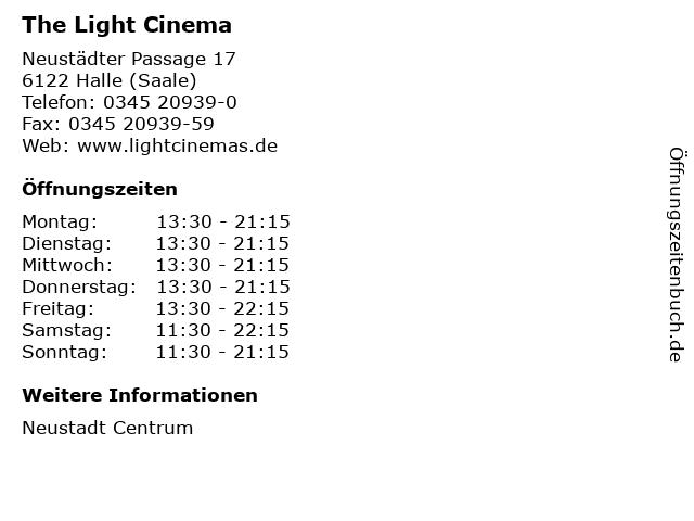 The Light Cinema in Halle (Saale): Adresse und Öffnungszeiten
